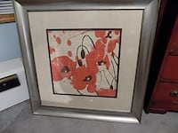 red flower painting with stainless steel frame Marion
