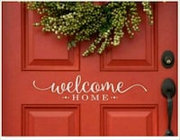 Welcome home door decal  75 mi