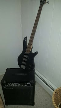 black 4-string electric bass guitar and black guit Plymouth, 02360