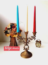 Candelabra with 3 Arms Brass Finish Trenton
