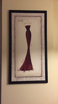 3 piece red dress wall art pictures prints