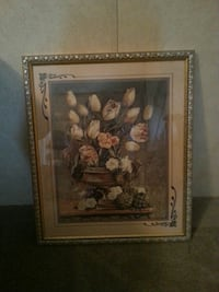 gray wooden photo framed of white flowers in brown