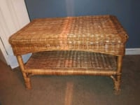 brown wicker framed brown padded ottoman 43 km