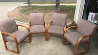 four brown fabric padded armchairs with brown wooden frames Poway, 92064