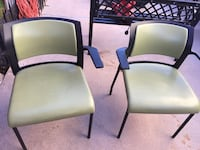 two black wooden framed white padded chairs El Paso, 79936