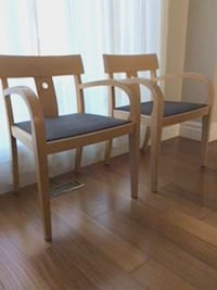 "Two ""Keilhauer"" solid maple side chairs, new foam and upholstery, worth $500+, selling for $150 EACH. Suitable for reception/visitor area; p/u only (Milton) xp Milton"