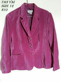size 12 pink notch-lapel blazer Kitchener, N2E 2K1