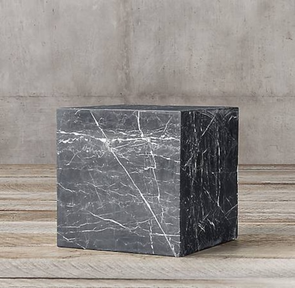 Restoration Hardware Marble Cube Side End Table