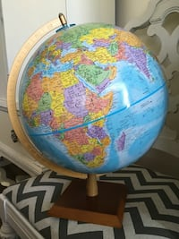 """12"""" globemaster raised topographic globe. Great cond Bright colors wooden base"""