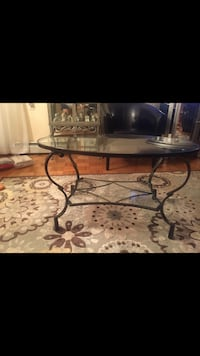 black metal base glass top table Englewood Cliffs, 07631