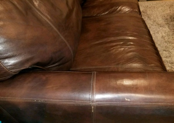 Genuine Leather Sofa And Loveseat Brown