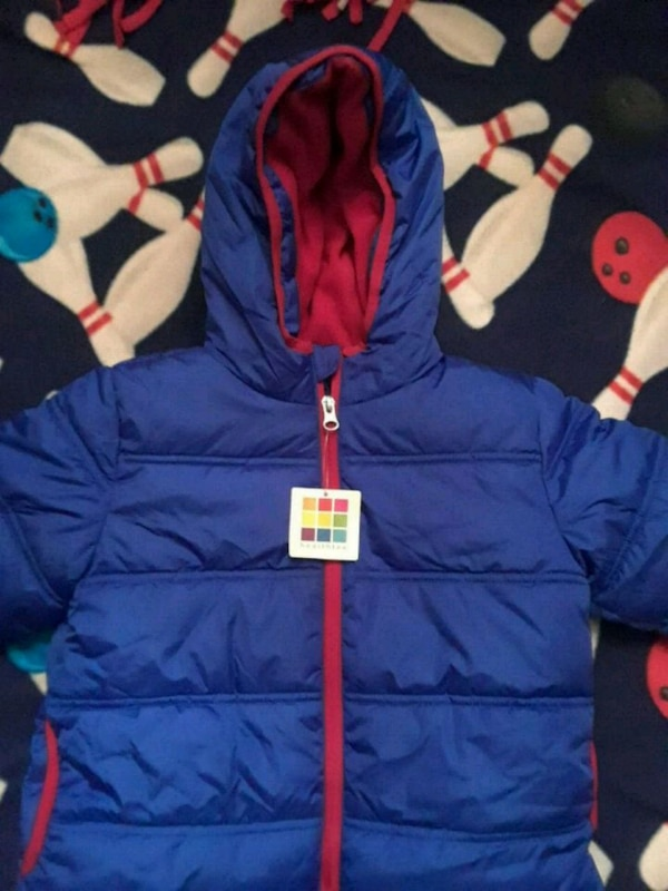blue and red bubble jacket