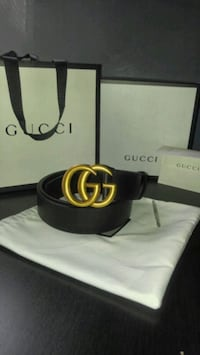 black leather Gucci belt with gold buckle  Herndon, 20170