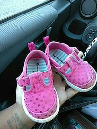 toddler's pink-and-white shoes