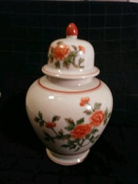 white and red floral ceramic Asian vase Three Oaks, 33967