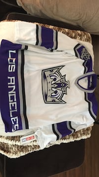 white and blue los angeles jersey shirt