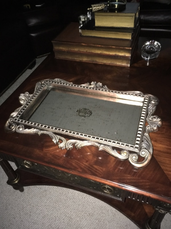 """Decorative wood tray with antique fake mirror surface size 24""""w 16""""high"""