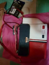 red, black, and white Tommy Hilfiger leather bag Edmonton, T5M 0N5