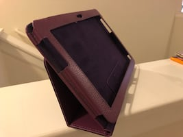 Purple tablet cover fits Samsung tablets.