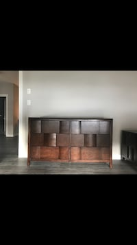 brown wooden sideboard with dresser