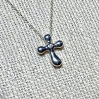 Authentic Tiffany & Co Elsa Peretti Sterling Silver Diamond Cross Pendant Necklace