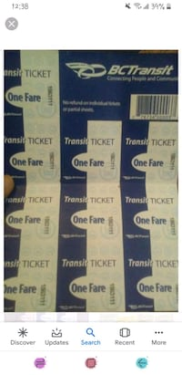 Selling bus tickets 1.50 per ticket. Or 10 for 15$ Victoria, V8T 2E9