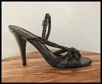 Pour La Victoire Shoes - Designer Black Leather Strappy Sandals  Annandale