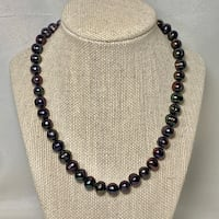 Authentic Tahitian Black Pearl Necklace with Sterling Silver Clasp