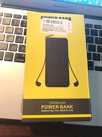 Brand new!!!  10000mAh Q Slim Power Bank Portable Charger External Battery Pack Charger 10000mah with Built-in Micro Usb Tpye C Three Kinds Cable AC Wall Plug for different mobilephone Black Hialeah, 33015
