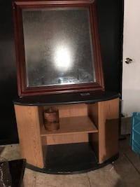 Stand/ desk and large mirror with color changing led lights. Lithonia, 30058
