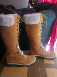 14 in Long timberland boots with faux fur