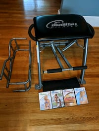 Malibu Pilates Pro bench with sculping arms and 4 DVDs