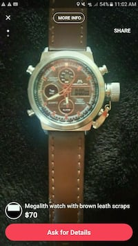 round silver chronograph watch with brown leather strap Huntersville, 28078