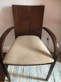 Brown wooden framed gray padded armchair Calgary, T2Z 4Y4