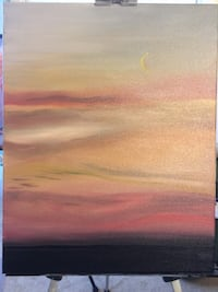 """An Alaskan Sunset Beautiful Oil Painting by Tanya  14"""" x 20"""" Mary Esther, 32569"""