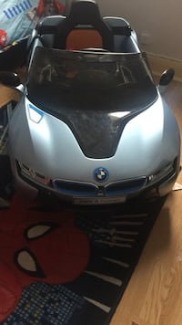 Gray and black BMW ride on toy car