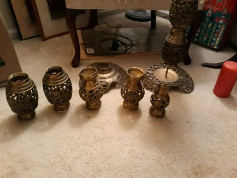 Beautiful tall antique brass candle holders  77b354f2-8d59-42b6-a61f-bd2a520ab265