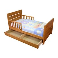 brown wooden bed frame with white mattress Richford, 13835