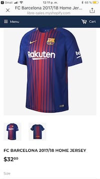 blue and red Nike FC Barcelona Rakuten soccer jersey screenshot Laval, H7G