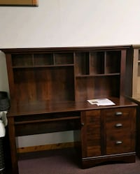 Cherry finish computer desk with hutch