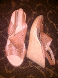 pair of pink leather open toe heels Fresno, 93720