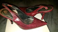 pair of red leather pointed-toe pumps 1297 mi