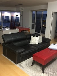 Black leather 3-seat sofa Toronto, M8V