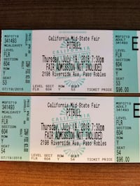 2 PitBull Tickets @ Mid State Fair Floor Paso Robles, 93446