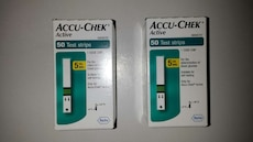 two Accu-Chek Active 50 Test strips boxes