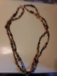 Cultural Earth Tone Wood Bead Necklace Horn Lake