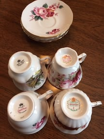 Large collection of bone china tea cups and saucers from England