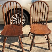 pair of vintage solid wood chairs  Shenandoah, 77381
