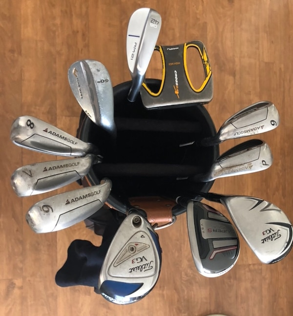 Adams IDEA Tech Irons, Titleist 4, 5 Hybrid, Golf Bag