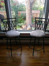 two black metal framed gray padded chairs Colorado Springs, 80905